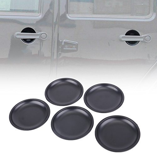 - 5 Pcs Dish Shaped Door Handle Recess Guard Inserts for 2007-2017 Jeep Wrangler JK JKU Unlimited Rubicon Sahara X Off Road Sport Accessories Parts,Matt Black,2-Door or 4-Door- KIWI MASTER