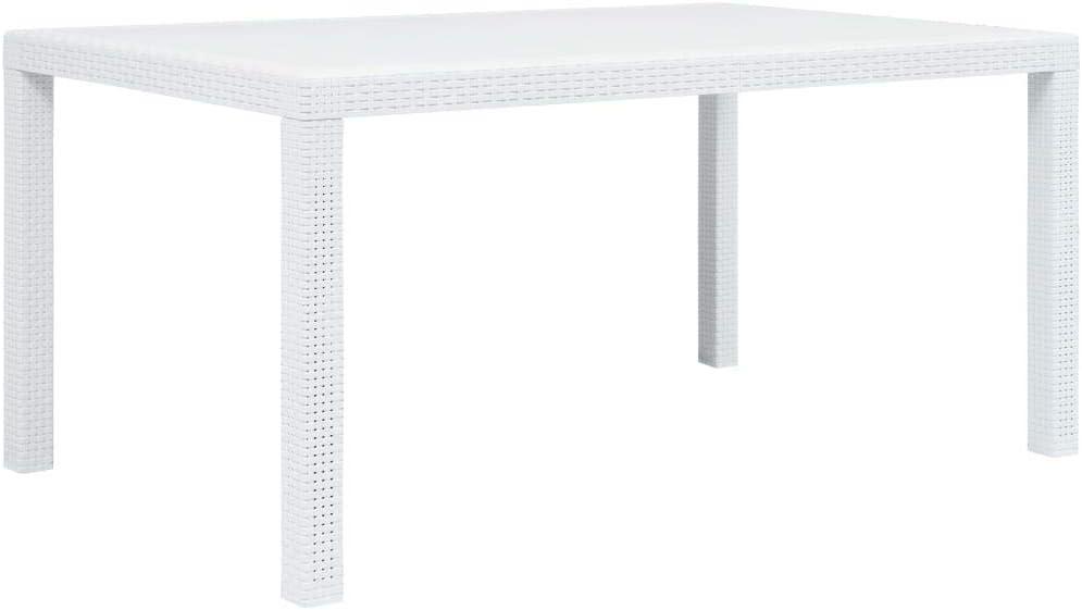 vidaXL Mesa de Jardín Plástico Aspecto de Ratán Blanca 150x90x72cm Mobiliario