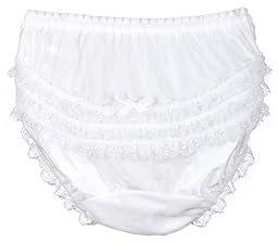 I.C. Collections Little Girls White Nylon Rumba Panties, Size 03