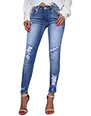 HENWERD Casual Skinny Ripped Jeans for Women Teen Girls Distressed Comfy Denim Pants