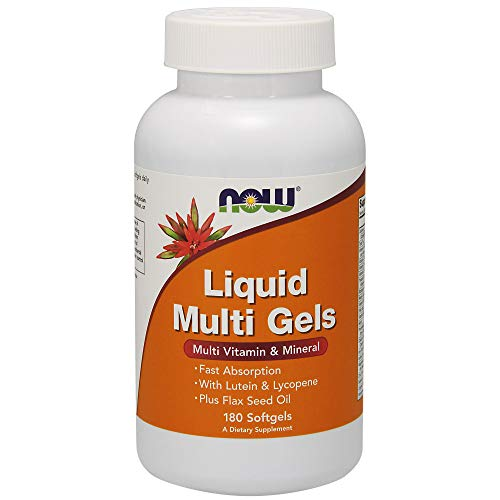 (NOW Supplements, Liquid Multi Gels with Lutein and Lycopene, plus Flax Seed Oil, 180 Softgels)