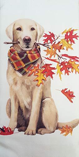 Mary Lake Thompson Autumn Leaves Yellow Lab 100% Cotton Flour Sack Dish Tea Towel 30