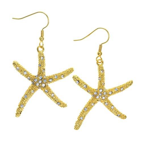 PammyJ Goldtone Rhinestone Starfish Dangle Earrings (Sea Creature Costumes)
