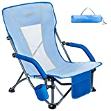 #WEJOY Lightweight Compact Slubbed Fabric Low Sling Outdoor Lawn Concert Camping Beach Folding Chair with Cup Holder Pocket Mesh Back & Armrest, Carry Bag Included