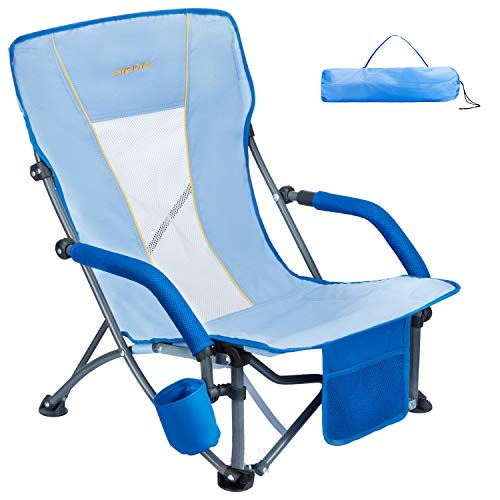#WEJOY Portable Low Gravity Folding Beach Chair with Cup Holder Pocket Slubbed Fabric Mesh Back, Lightweight Compact Low Sitting Back Profile Seat Short Collapsible Concert Lawn Chairs for Adults