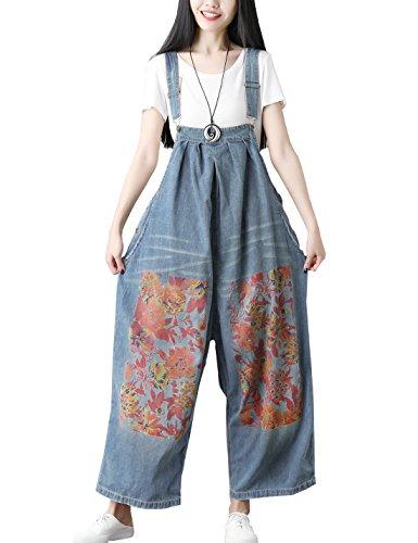 fda799f6eaea Flygo Women's Loose Baggy Cotton Wide Leg Jumpsuit Rompers Overalls Harem  Pants (One Size, Style 07 Blue)
