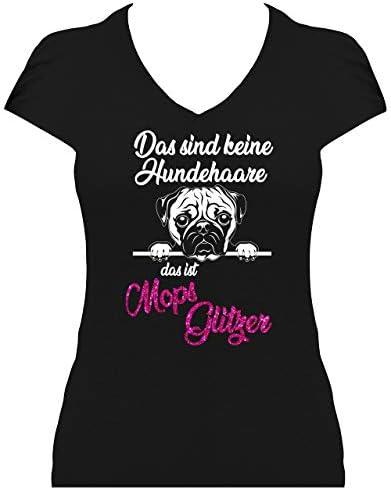 BlingelingShirts koszulka damska błyszczący mops pies pug psy duży wybÓr: Odzież