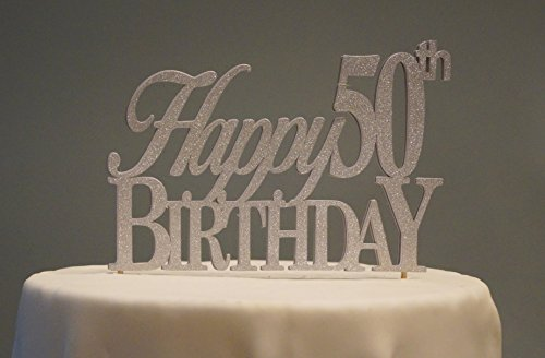 All About Details Silver Happy-50th-birthday Cake Topper