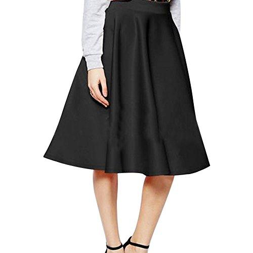 Jupe Noir Skater Pliss Bow lgante Vintage Taille Ligne Jupes Haute A Midi Fashion Swing Femmes Xnqw6PBHxf
