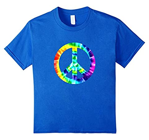 unisex-child Retro Peace Hippie 1960s Tee Shirt Gifts Tie Dye Peace Sign 8 Royal Blue - Boys Blue Tie Dye