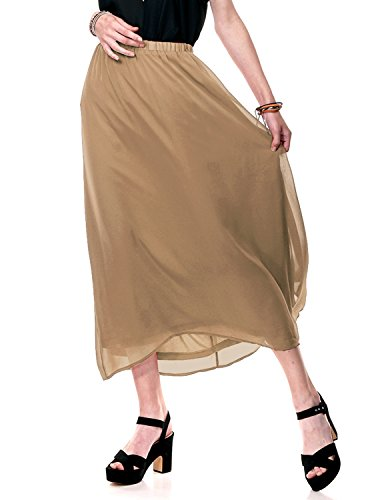 Regna X for Woman Dress Waistband Brown deep Extra Large Chiffon Long Maxi Skirts