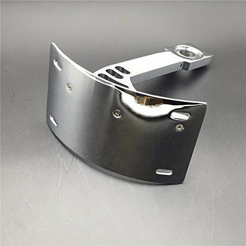 SMT- Motorcycle Chrome Curved Mount License Plate Tag Holder Bracket For Warrior V-Max