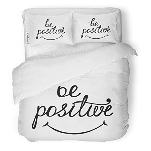 Semtomn Decor Duvet Cover Set King Size Be Positive Inspirational Quote About Happy Modern Phrase Smile 3 Piece Brushed Microfiber Fabric Print Bedding Set Cover