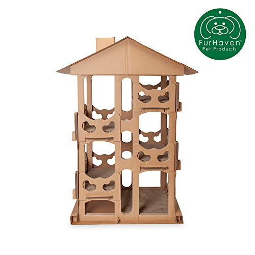 Furhaven Pet Cat Furniture | Corrugated Cat Scratcher Tower Playground Condo Hideout Pet House Apartment w/ Catnip for Cats & Kittens, Cardboard (Brown), One Size from Furhaven