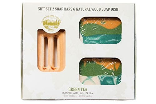 Price comparison product image Green Tea Soap Bar - Handmade Organic Herbal Bar with Therapeutic Essential Oils. Natural Moisturizing Body Soap for Skin and Face. With Shea Butter,  Coconut Oil and Natural Glycerin (GIFT SET)
