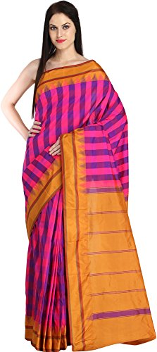 Exotic India Pink and Nugget Sari from Bangalore with Woven Checks and Striped P (Pink Indian Sari Adult Costume)
