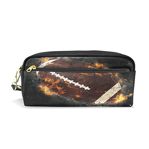 TropicalLife Fire Sport Rugby Ball Pencil Case with Zipper PU Leather Large Capacity Stationery Pouch Cosmetic Makeup Bag