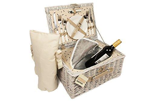 Picknickkorb, 2Personen, Weidenkorb mit Kühlfach und Flaschen-Kühltasche, mit Tragegriff