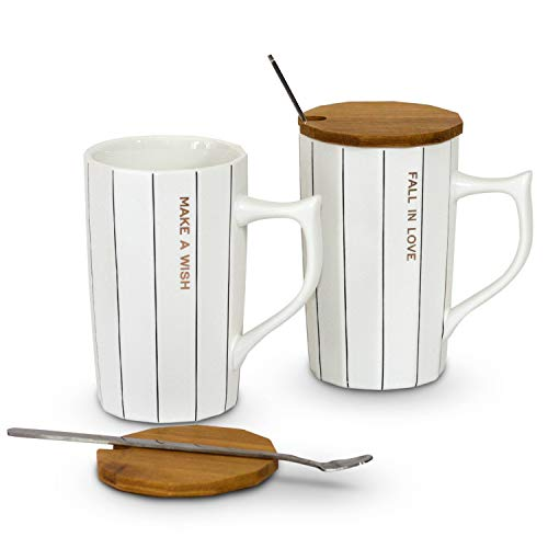 His and Hers Coffee Mugs Set, Matching New Mom and New Dad Mugs, Special Gift for First Time Parents, Ceramic Coffee Mugs with Spoon (Matching Mug Set)