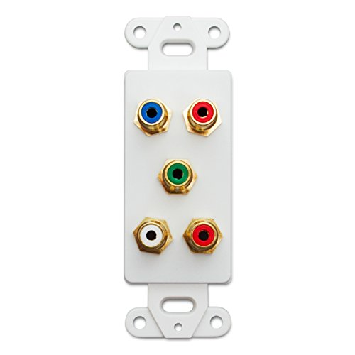 Video Decora Wall Plate (C&E CNE41534 Decora Wall Plate Insert, 5 RCA Couplers (Component Red, Green, Blue (Y/PR/PB) Plus Red/White), RCA Female, White)
