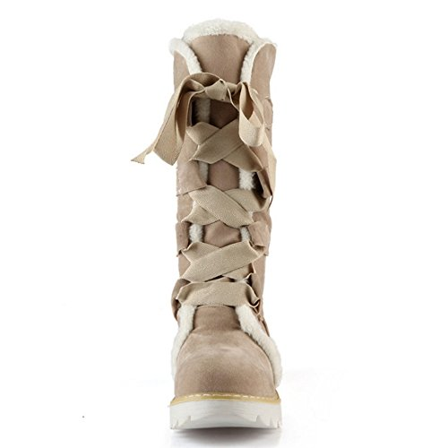 Beige Lace COOLCEPT Women Boots Up q0YYaw