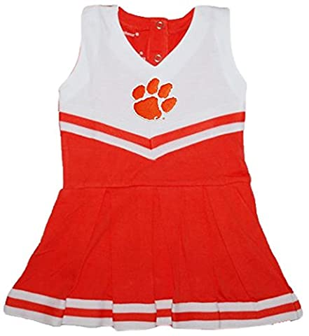 Clemson Tigers NCAA Newborn Baby Cheerleader Bodysuit Dress (0-3) - Infant One Piece Cheerleader Dress
