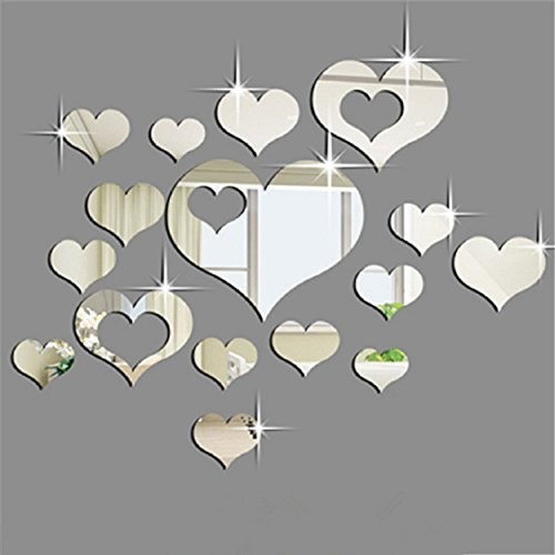 Ikevan 1Set 15pcs 3D Acrylic Heart Shaped Mirror Wall Stickers Plastic Removable Art Decor Poster Living Room Home DecorationMulti Size