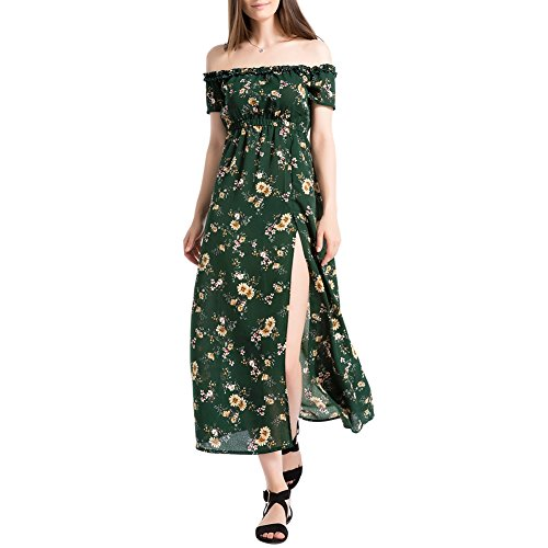 Hotiary Womens Chiffon Maxi Floral Off Shoulder Split Summer Beach Party Dresses Green S-L