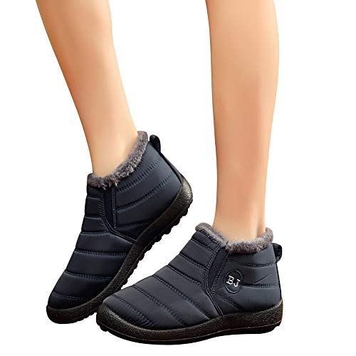 GoodLock Women Fashion Ankle Boots Ladies Winter Solid Color Keep Warm Plus Velvet Flat Snow Boots Booties (Blue, 6.5 M US)