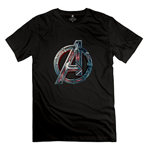 Men Marvels Avengers Logo Customized 100% Cotton Black T-Shirt By Mjensen