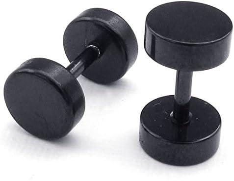 Negro Facibom Pendientes de Hombres de joyeria Acero Inoxidable Pernos de oido de circulo de 6 mm