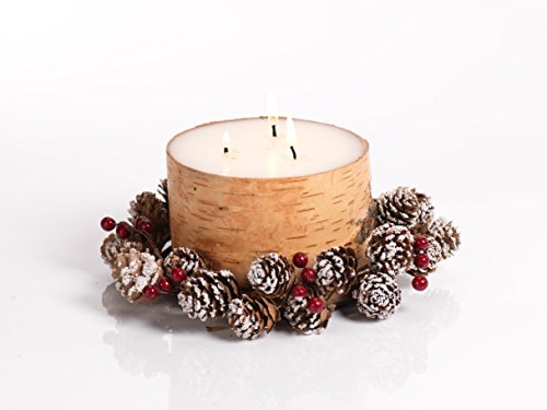 "Zodax Triple Wick Birch Candle Gift Set with Pinecone Wreath 8"" x 4"""