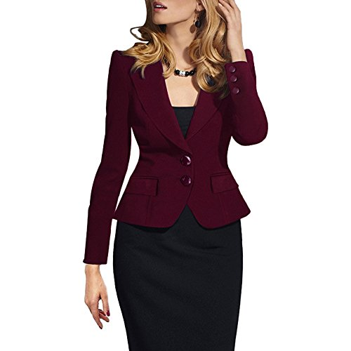 SEBOWEL Women's Casual Work Solid Long Sleeve Slim Fitted Office Blazer Suit Jacket Red L