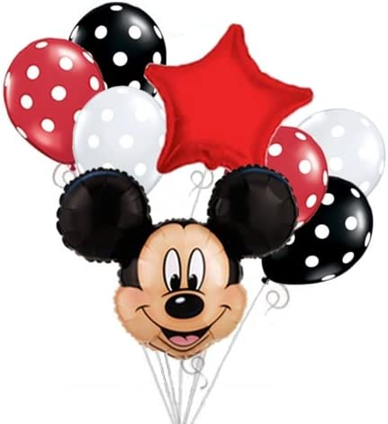 Amazon.com: Mickey Mouse Head Ramo de globos Set Cumpleaños ...