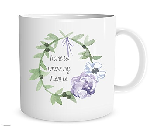 Home is Where My Mom Is Watercolor Wreath Mug, 11 oz. Coffee Cup
