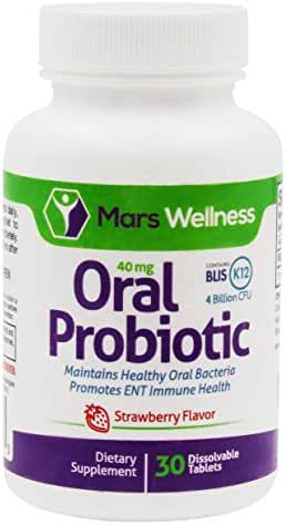 Daily Oral Probiotic Supplement w/BLIS K12 (30 Tablets) 4 Billion CFU Help Maintain Ear, Nose, and Throat Health - 30 Day Supply