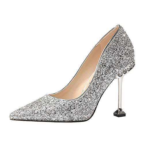HOESCZS Strass À Et La Mode avec des Chaussures À Talons Hauts Et À À Talons Hauts pour Femmes 36 Silver 39f909