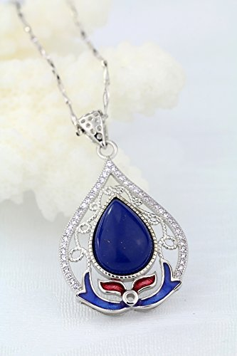 filigree enamel filigree inlaid crystal drop pendant necklace women girls lady silver jewelry handmade cloisonne ()