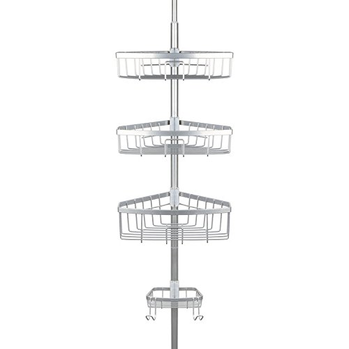 "Richards Homewares Bathtub Shower Tension Corner Pole Caddy – Chrome - Stylish Design with 3 Baskets with soap dish - 10.5 x 9.5 x 108"""
