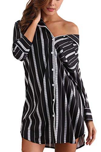 Giorzio Women Cotton Nightgown Button Down Striped Boyfriend Sleep Shirt Dress, S-XXL (XX-Large, Black+Stripe)