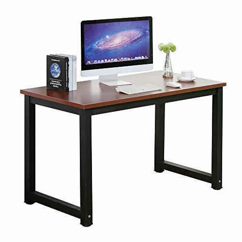 gootrades Computer Table,47'' Sturdy Office Desk Study Writing Desk,Modern Simple Style PC Workstation Table for Home Office, Teak+Black Leg by gootrades