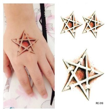 Halloween Tattoo Stickers Temporary Tattoos - Halloween Tattoo Stickers Mysterious Star Puncture - Allhallows Eve Label - 1PCs