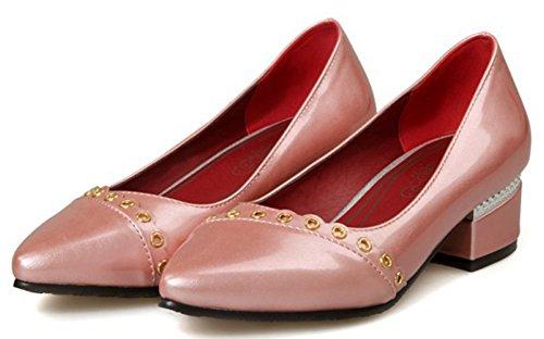 Idifu Donna Elegante Scarpe A Punta Chiuse Slip On Pumps Scarpe Basse Con Tacco Rosa