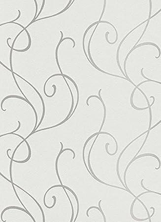 Vliestapete weiß grau  Vlies Tapete Erismann ISABELLA 5915-10 Wellen Ranken Struktur Weiß ...