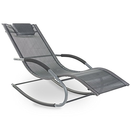 VonHaus Textoline Rocking Sun Lounger - Outdoor Relaxing Chair for Garden, Patio, Deck