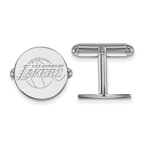 (NBA Los Angeles Lakers Cuff Links in Rhodium Plated Sterling Silver)