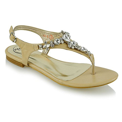 ESSEX GLAM Women's Flat Toe Post Diamante Gem Nude Synthetic Leather Holiday Sandals 8 B(M) US ()