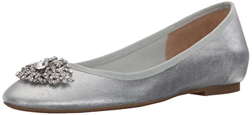 Badgley Mischka Women's Abella II Ballet Flat, Silver, 10 M US by Badgley Mischka