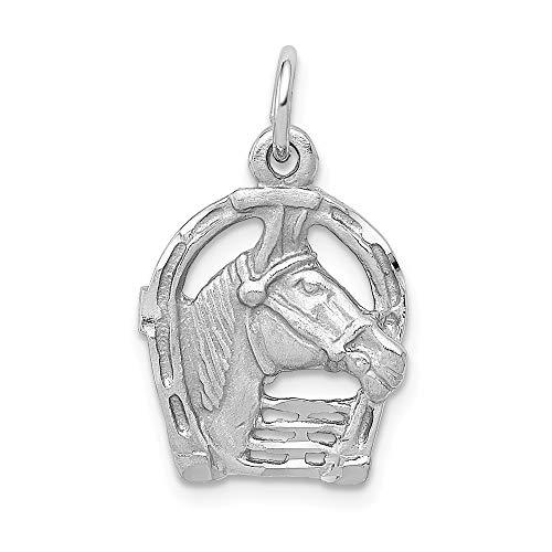 Qg White Gold Horseshoes - 14K White Gold Diamond Cut Horse Head in Horseshoe Charm