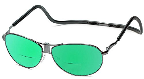 Clic Aviator XXL Polarized Bi-Focal Reading Sunglasses in Gunmetal & Green Mirror Lens - Sunglasses Clic